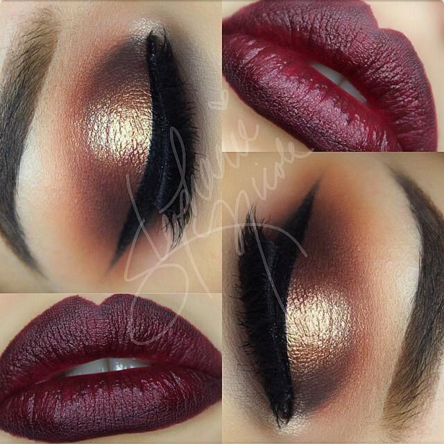 Deep Brown and Burgundy Makeup