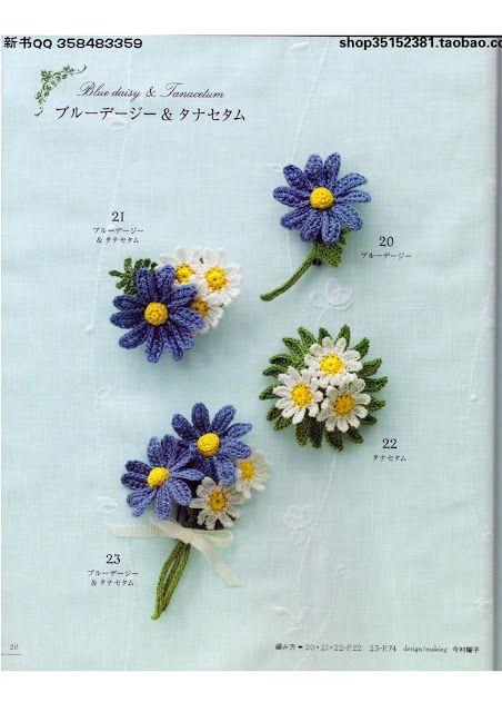 PATRONES GRATIS DE CROCHET: FLORES a crochet, margaritas y  violetas....patrón...