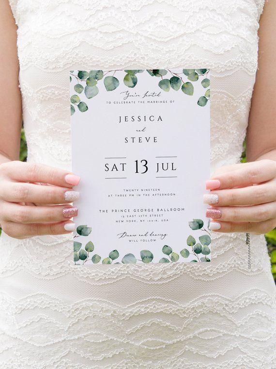 Grun Hochzeits Einladungs Schablonen Eukalyptus Druckbar
