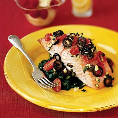 Mediterranean Salmon Recipe, packed with protein and OMEGA-3s...and flavor! | health.com