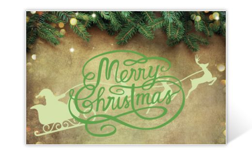 Classic Christmas card with Merry Christmas greeting