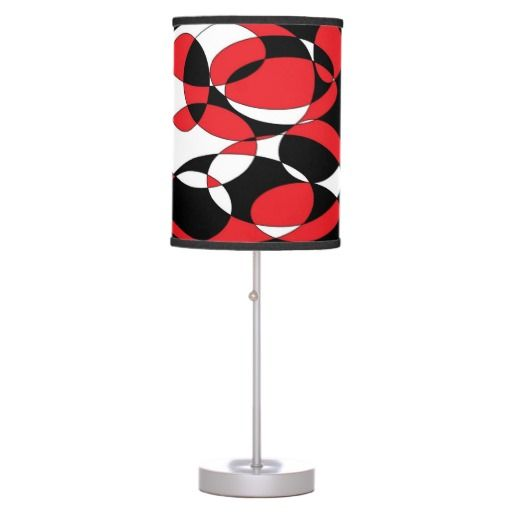 Black, white and red elliptical lamp in a box. Wonderful home and office accessory. (bulbs are separate)