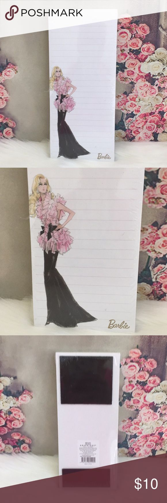 """🆕💕BARBIE💕Graphique Magnetic Notepad 📝 Super cute💕Barbie magnetic notepad 📝 by Graphique / 100 sheets 9.25""""L x 4""""W / Brand New🚭SMOKE FREE🚭BUNDLE & SAVE🛍🛍 Other"""