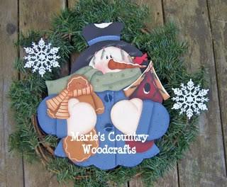 Hand Painted Wood Snowman Wreath