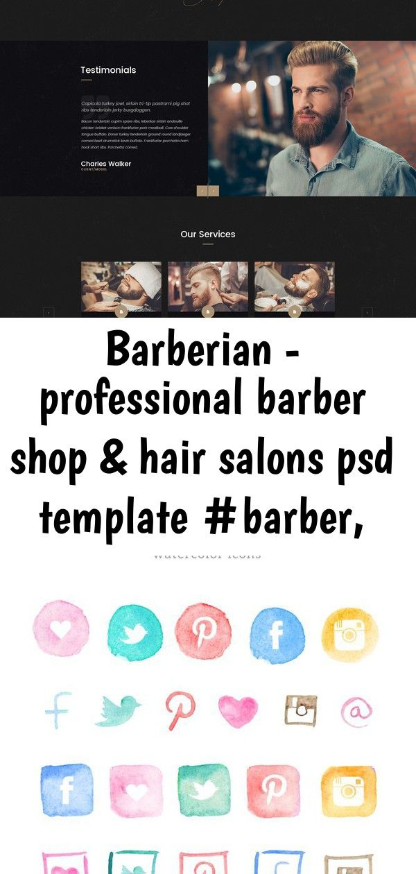 Barberian Professional Barber Shop Hair Salons Psd Template Barber Shop Barberian Professional Curly Made Professional Barber Shop Barber Hair Salon