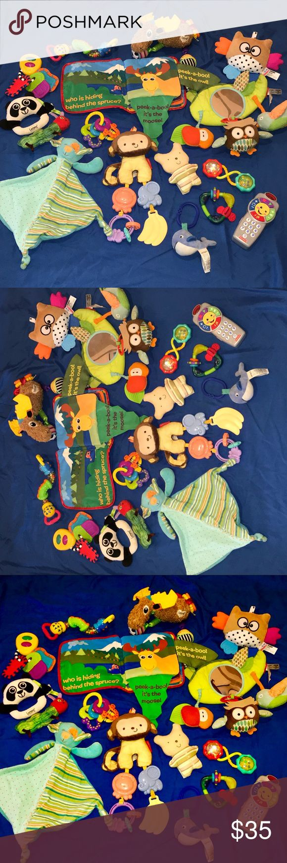 Baby toy lot mixed toys great deal Mixed brands and large toy lot !!  Including skip hop , Lamaze, garanimals , fisher price  Over 250$ in baby toys  Gently used well taken care of !!! lamaze, skip hop, garanimals Other