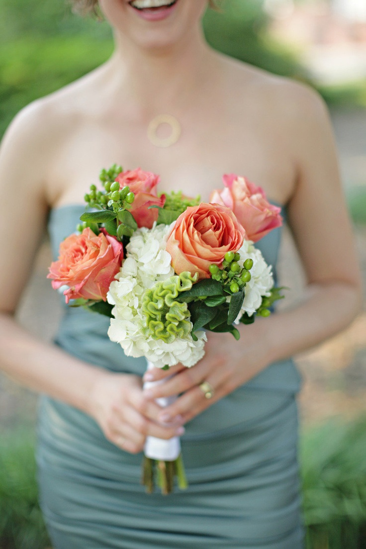 Love the coral + green with a gray bridesmaid's gown! Photography by paperlilyphotography.com, Floral Design by poshpetalsandpearls.com