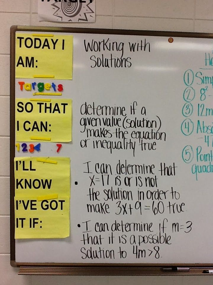 Task 4: A visual like this can help students see what they need to do each day, or each subject, to be successful.