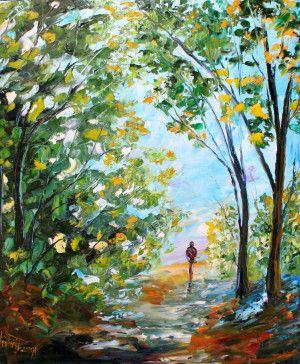 Arbres – Chemin – Feuilles – Karen Tarlton – Peinture à l'huile – Summer Stroll – Tableau