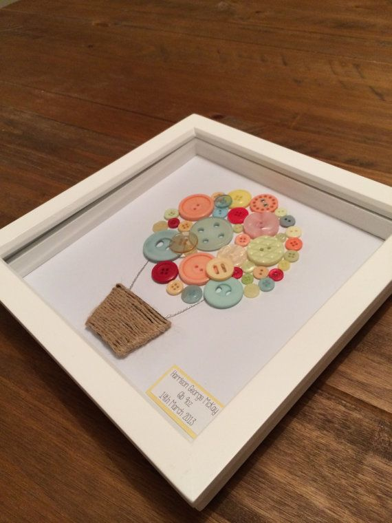 Handmade by JollyHolly Creations - Framed Button Artwork in a White Wooden Box Frame. Hot air ballon design made from pastel buttons of