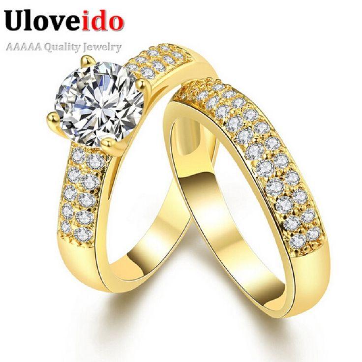 Uloveido monili di cristallo promessa doppi anelli per le coppie uomini donne Placcato oro Coppie Anelli di Nozze Fissate per Uomini e Donne KR005