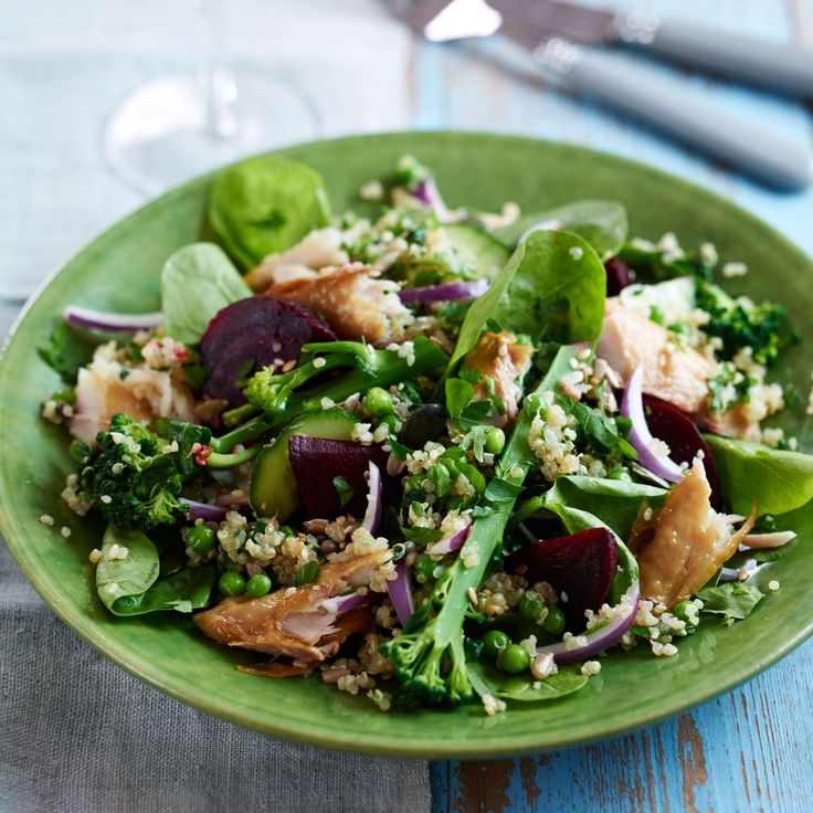 Mackerel superfood salad. Note: easy on the peas and broccoli, since those veggies are not so balancing for Vata. You'd rather add asparagus and beets.