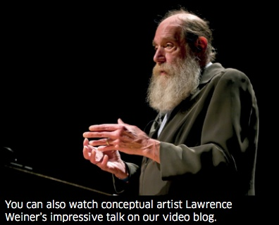 Lawrence Weiner: watch his speech, listen to THE VOICE of TYPO London 2011 #typo11 http://typotalks.com/video/2011/10/21/typo-london-2011-places-livestream-lawrence-weiner-sculpture-made-of-language/