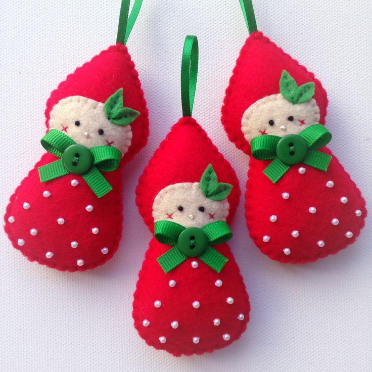 Strawberry Pixie Hand stitched Felt Christmas decoration