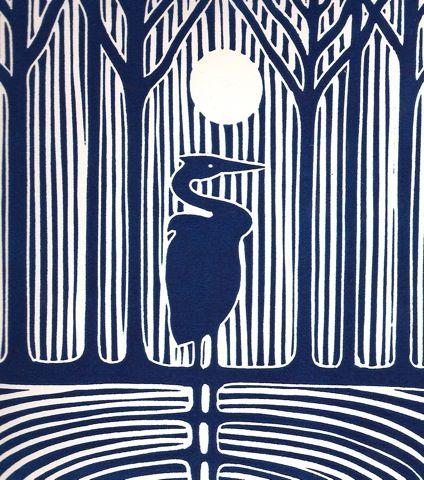 night heron - linocut - gregorio perez