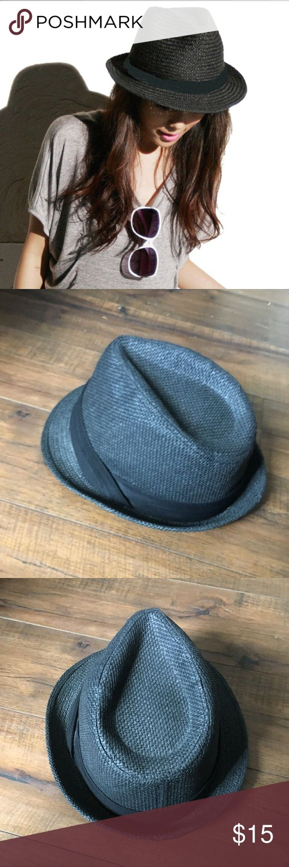 💥Black fedora hat, straw Black fedora hat.  Made from woven paper/ black accent ribbon.  Its technically black but appears dark grey in the sun.  Cute, breathable hat for summer!  Material is stiff but flexible (if that makes sense!) no visible wear- good condition!  Can be for Men or Women.                                      💥 To Post Office same/ next day 💥                                       🔥 Smoke-free home 🔥 Accessories Hats