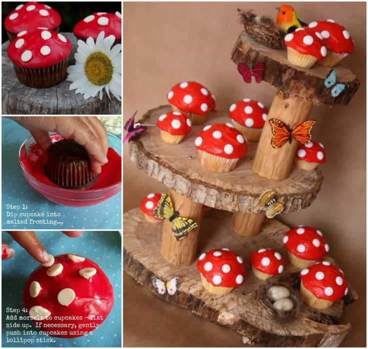 How amazing are these Toadstool Cupcakes on magical fairy garden stand !  Insturctions--> http://wonderfuldiy.com/wonderful-diy-fairy-garden-mushroom-cupcakes/