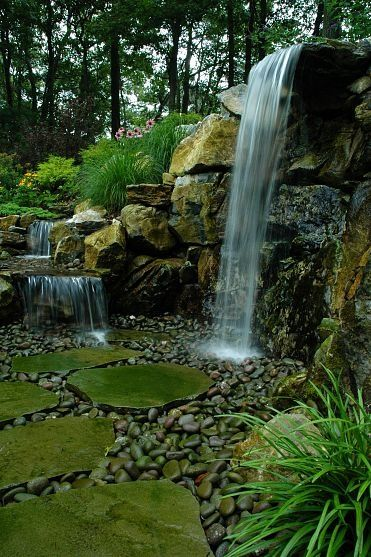 25 best ideas about outdoor waterfalls on pinterest modern spot lights garden water features - The pond house nature above all ...