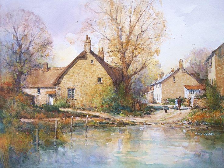 Ian Ramsay Watercolors - Rural Wiltshire, England