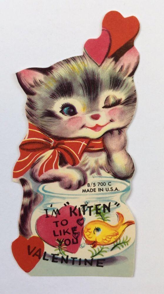 Vintage Die Cut Valentine Card Stripe Kitty Cat  Girl Gold Fish Bowl Pink Heart