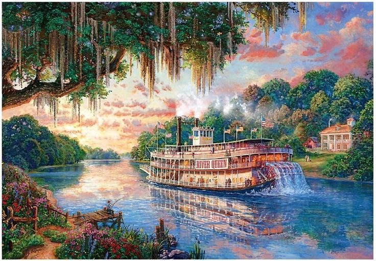 "Jigsaw Puzzles 1000 Pieces ""The River Queen"" / Thomas Kinkade #PUZZLELIFE"
