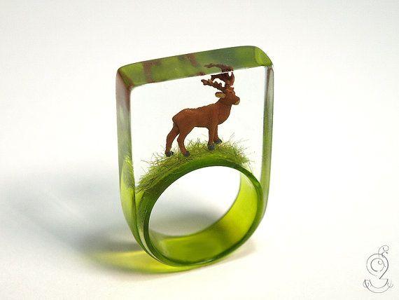 Wood ease Funny deer ring with a brown by GeschmeideUnterTeck