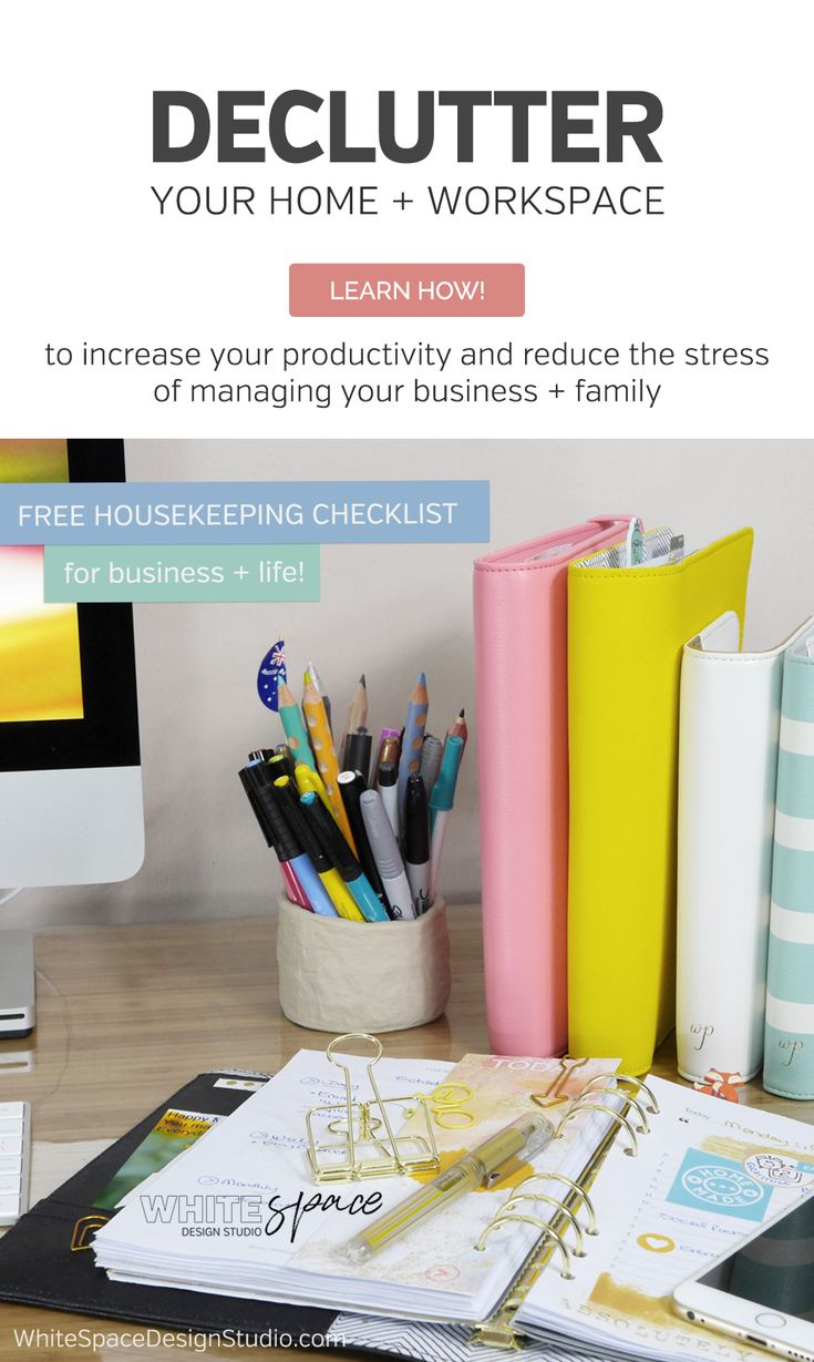 DECLUTTER YOUR SPACE AND INCREASE PRODUCTIVITY | How to declutter your space to increase your productivity and reduce the stress of managing your business + family life. >>> starting today! | whitespacedesignstudio.com #flourishwithwhitespace #plannerprintables #planning #productivity #habits #routines #declutter