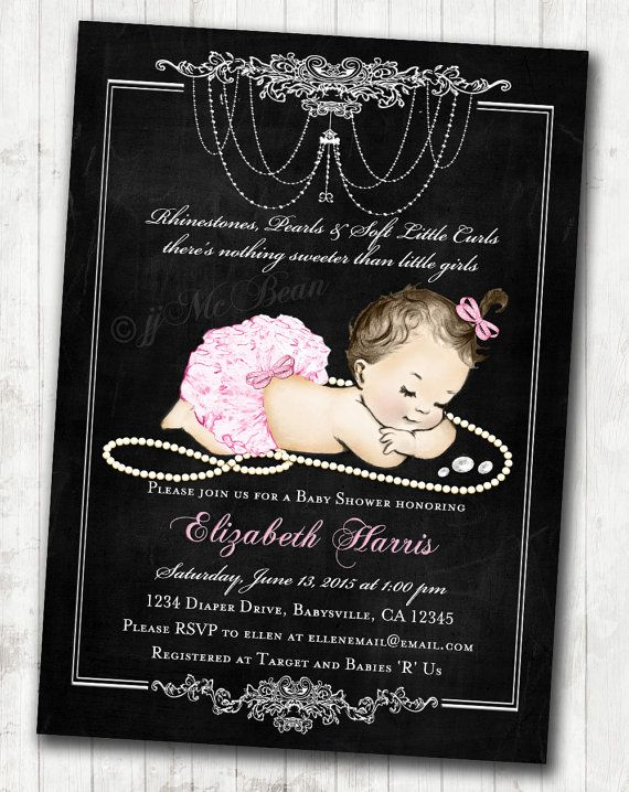 Chalkboard themed baby shower invitations for baby girl—pink, vintage, antique. Made-to-order and DIY printable!