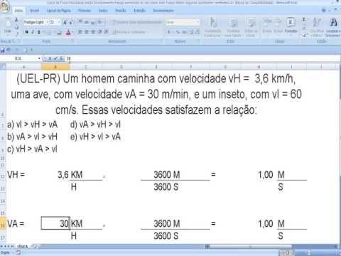 Transformação ou conversão de unidades de medida de velocidade média na ... https://youtu.be/GxKYsgIGfCU