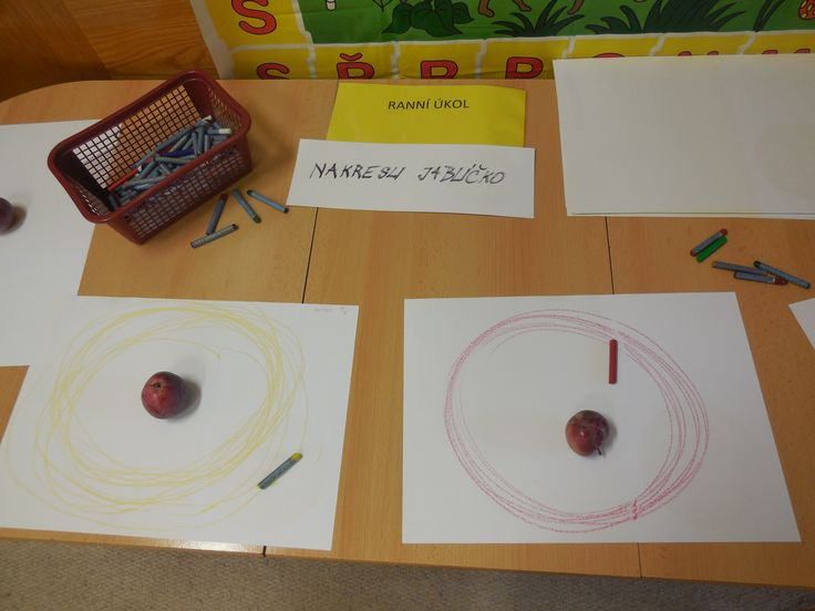 grafomotorika   Červená barvička  Vzala ji Anička.  Krouží kruhy malé, větší,  na jablíčko už se těší.