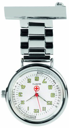 Woodford Nurse's Fob Watch, 1219, Quartz Chrome-Finished  (Suitable for Engraving)