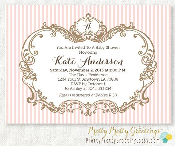 elegant frame girl baby shower invitation custom printable for baby