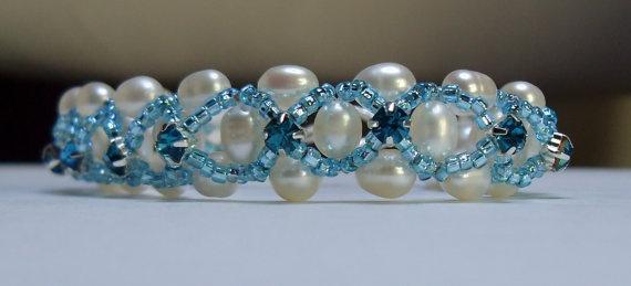 Woven  Bracelet  Fresh Water Pearl with Crystal by WearMyJewellery, £15.00: Fresh Water Pearls, Bracelet Fresh, Woven Bracelets