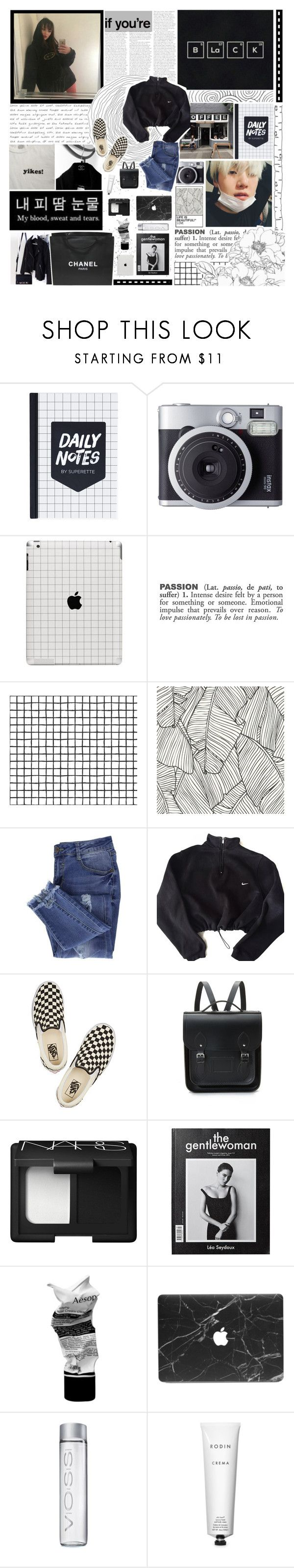 """""""★; every single day is a repetition of ctrl+c, ctrl+v"""" by ecclxsiastes ❤ liked on Polyvore featuring Chanel, Fujifilm, ADZif, Essie, NIKE, Vans, The Cambridge Satchel Company, NARS Cosmetics, Aesop and Rodin"""