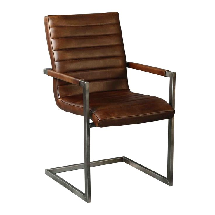Eetkamerstoel Rosi Van de Pol meubelen cognac Eetkamerstoel Rosi | Kleur Leer en Stalen Frame