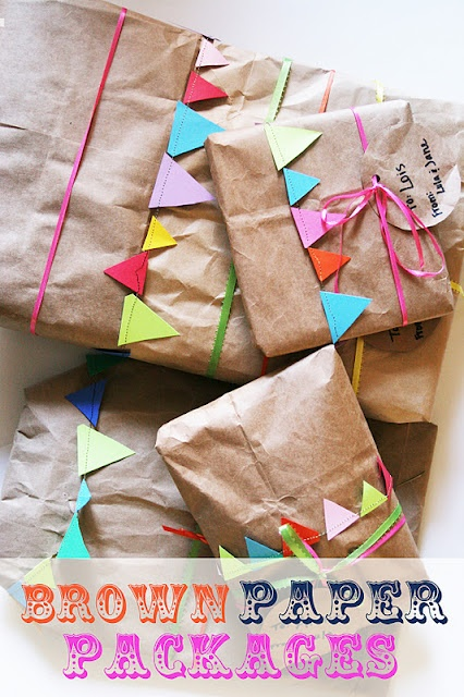 homemade ginger: Brown Paper Bag Wrapping with bunting. Funny! I do this for all my good friends.