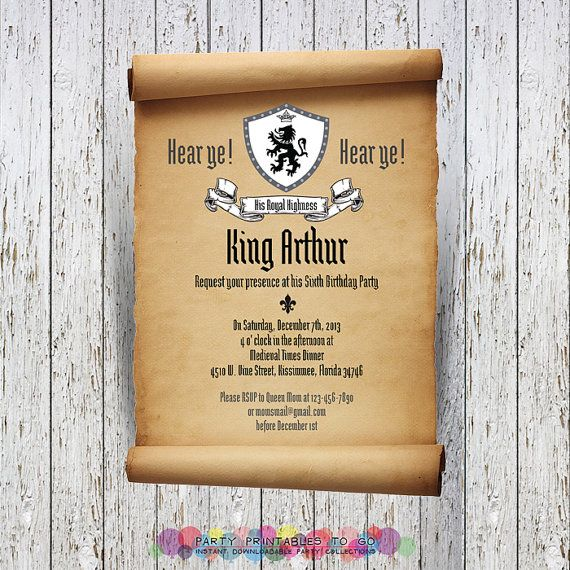 medieval knights scroll invitation with free thank you
