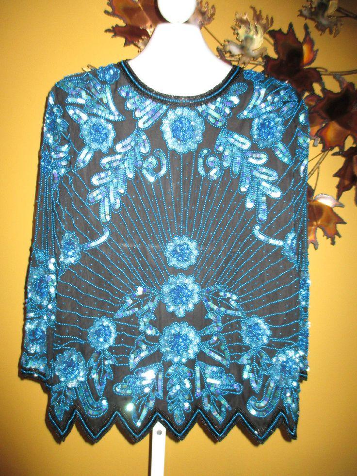 NWT ODEON Black & Blue SILK Beaded Evening Top Shirt 22 16 / 18 / 1X   eBay