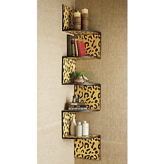 I don't love the leopard but that shelf idea for the bathroom.