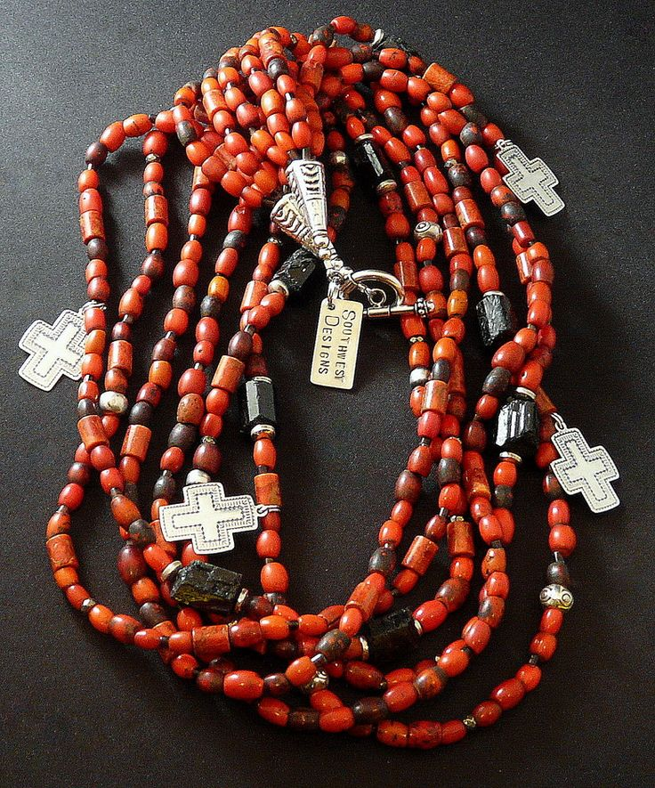 Antique Sherpa Bead 6-Strand Necklace with Coral, Black Tourmaline, Pen Shell Heishi & Sterling