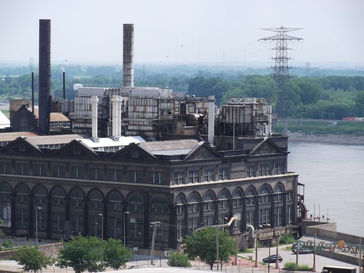 old abandoned factory by the Mississippi River in St