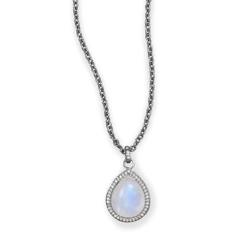 Jewelry - Midnight Collection Pear Drop Necklace With Gray Diamonds