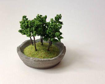Little forest in a concrete dish, miniature landscape, tiny decor, concrete decor