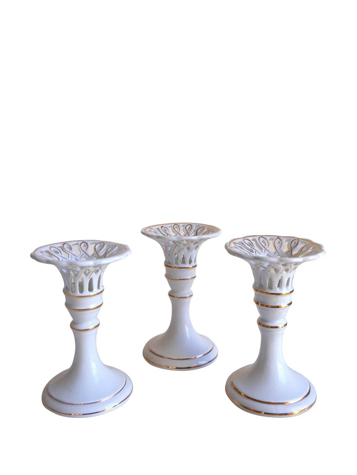 Italian Pierced Porcelain Candlesticks, Set of 3