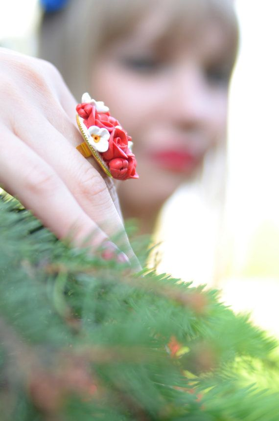 Red polymer clay ring with roses  polymer clay by RuTanAccessories
