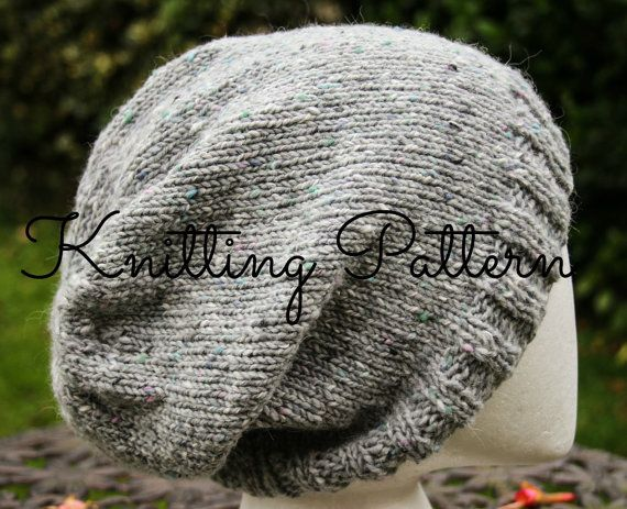 Knitting Pattern - Slouch Beanie Hat - Children, Adult, Aran weight yarn - Instant Download on Etsy, $4.46