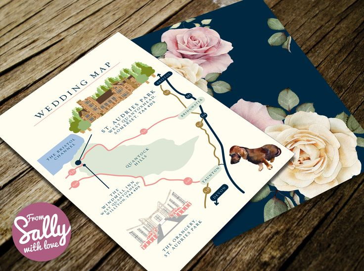 A formal wedding map for Anne-Marie and Richard's wedding invitations  #formal #wedding #invitation #love #engaged #A5 #watercolour #somerset #staudries #professional #bespoke #taunton #Dachshund #sausagedog #dog #gold #duskypink #pink #weddingmap #flowers #roses #elegant #pretty   http://www.fromsallywithlove.co.uk