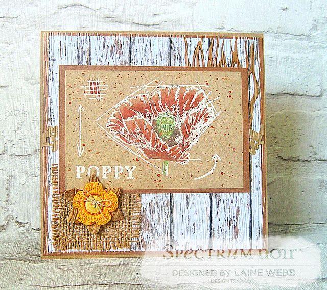 Dream Laine: Beautiful Poppy! #crafterscompanion #spectrumnoir #wildlife #pencil #watercolor #floral #poppy #red #shabbychic