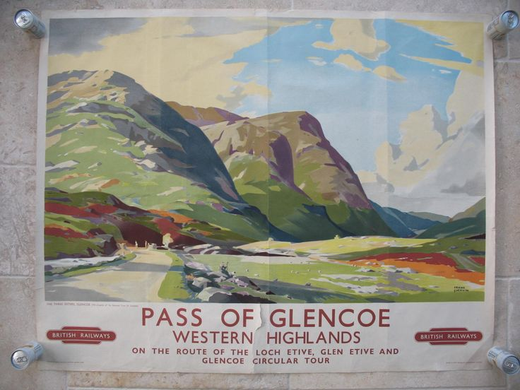 """Pass of Glencoe - Western Highlands by Frank Sherwin. Colourful Glencoe; """"The Three Sisters"""" as depicted by Frank Sherwin in the 1950s. The flowering heather and grasses on a peaceful and sunny day belie the fact that this is a tough area and can be inhospitable in winter. Original Vintage Railway Poster available on originalrailwayposters.co.uk"""