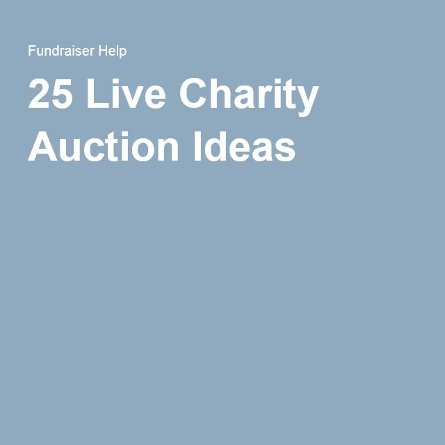 25 Live Charity Auction Ideas